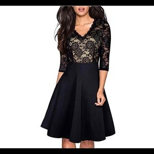 Dresses & Skirts - Women's Chic V-Neck Lace Flare Party Dress